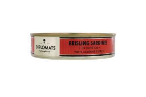 Сардини підкопчені в оливковій олії з каєнським перцем Diplomats з/б 160г
