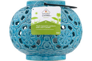 Smart Living Summer 7 inch Ceramic Lantern With Candle