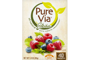 Pure Via Stevia All Natural Zero Calorie Sweetener - 40 CT