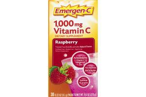 Emergen-C Vitamin C Fizzy Drink Mix Raspberry - 30 CT