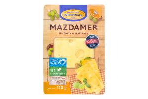 Сыр 45% сычужный твердый нарезной Маздамер Wloszczowa лоток 150г