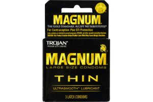 Trojan Magnum Thin Large Size Condoms Ultrasmooth Lubricant - 3 CT