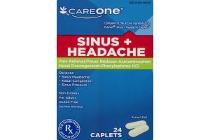 CareOne Sinus + Headache Pain Reliever/Fever Reducer Nasal Decongestant - 24 CT
