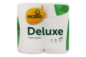 Бумага туалетная 3-слойная Deluxe Ecolo 4шт