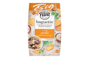 Сухарики пшеничні зі смаком гриби у вершковому соусі Flint Baguette м/у 150г