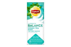 Чай зеленый байховый ароматизированный Mint Lipton к/у 25х1.6г