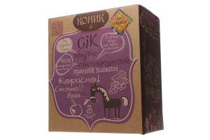 Сок яблочно-черносмородиновый неосветленный пастеризованный Коник Лавка традицій к/у 3л