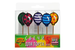 1502-0845 Свічки д/торта на піках Кульки 5од/А