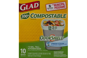 Glad 100% Compostable Tall Kitchen Bags 13 Gallon - 10 CT