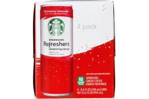 Starbucks Refreshers Sparkling Green Coffee Energy Beverage Strawberry Lemonade - 4 CT