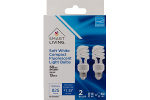 Smart Living Soft White Compact Fluorescent Light Bulbs 60 WATT - 2 CT