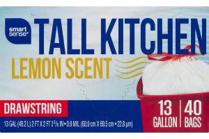 Smart Sense Tall Kitchen 13 Gallon Bags Lemon Scent - 40 CT
