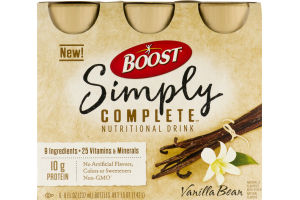 Boost Simply Complete Nutritional Drink Vanilla Bean - 6 CT