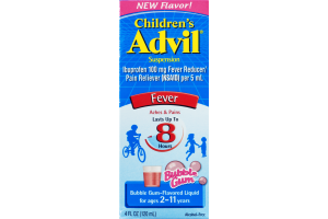 Advil Children's Suspension Liquid Fever Reducer/Pain Reliever Bubble Gum Flavored