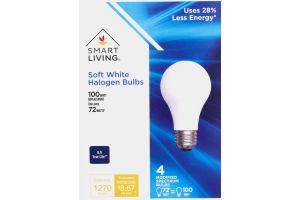 Smart Living Soft White Halogen Bulbs 100 Watt - 4 CT
