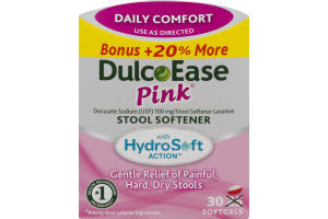DulcoEase Pink Stool Softener Softgels Daily Comfort - 30 CT