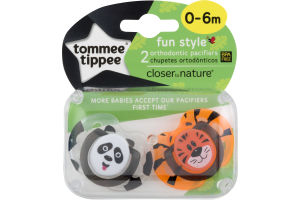 Tommee Tippee Fun Style Orthodontic Pacifiers 0-6m Closer to Nature - 2 CT