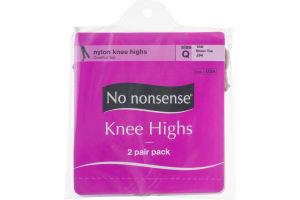No nonsense Nylon Knee Highs Size Q Tan Sheer Toe - 2 Pairs