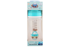 Пляшка з широким отвором антиколікова Easystart - Toys 240 мл синя машина 35/221_blu