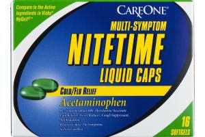 CareOne Nitetime Liquid Caps Cold/Flu Relief - 16 CT