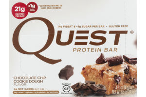 Quest Protein Bars Chocolate Chip Cookie Dough - 4 CT