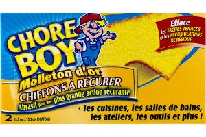 (CN) Chore Boy Molleton D'or Chiffons A Recurer - 2 CT, Chore Boy Golden Fleece Scrubbing Cloths - 2 CT