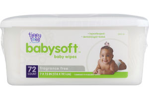 Tippy Toes by TopCare Babysoft Baby Wipes Fragrance Free - 72 CT