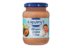 Пюре для детей от 4мес из яблок, слив и творога Карапуз с/б 200г