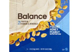 Balance Yogurt Honey Peanut Nutrition Bar - 6 CT
