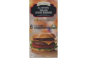 Great American All Natural Sirloin Steak Burger Steak Burgers 1/3 Pound - 6 CT
