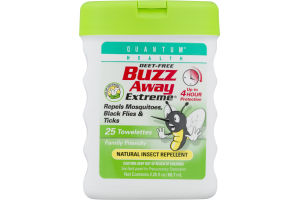 Quantum Health Deet-Free Buzz Away Towelettes 25 CT
