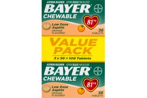 Bayer Chewable Low Dose Aspirin Tablets Orange - 3 PK