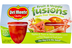 Del Monte Fruit & Veggie Fusions Apple Pear Watermelon - 4 PK