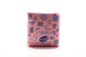 Салфетки столовые розовые 24х24см 1 слой PrOK 100шт