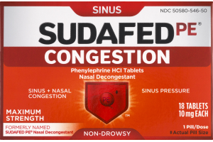 Sudafed PE Sinus Congestion Maximum Strength Tablets - 18 CT