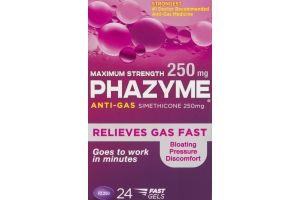 Phazyme Anti-Gas Simethicone 250mg Maximum Strength Fast Gels - 24 CT