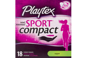 Playtex Sport Compact Tampons Super - 18 CT