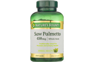 Nature's Bounty Saw Palmetto 450mg Whole Herb Capsules - 250 CT