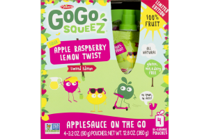 GoGo Squeez Applesauce On The Go Apple Raspberry Lemon Twist - 4 CT