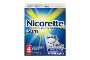 Nicorette Gum Stop Smoking Aid 4mg White Ice Mint - 100 PCS