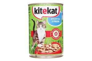 Корм влажный для взрослых котов Домашний обед с рыбой Kitekat ж/б 400г