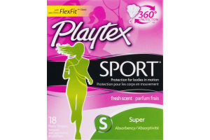 Playtex Sport Super Plastic Tampons - 18 CT