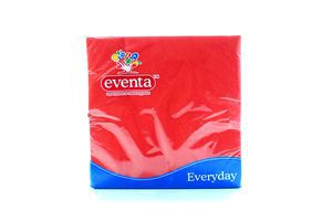 Салфетки столовые 33х33см 3-х слойные красные Everyday Eventa 20шт