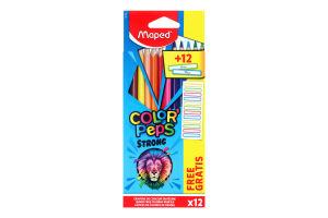 Набір олівці кольорові 12 кольорів+12 наклейок №862725 Maped 1шт