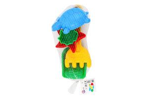 Набір ігровий для дітей від 1року №2254 Лопатка+грабельки Б+3 пасочки Technok 1шт