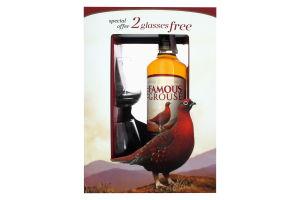 Набор виски 0.7л 40% The Famous Grouse + 2 стакан к/у