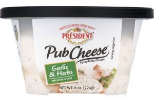 President Pub Cheese Spreadable Cheese Garlic & Herbs