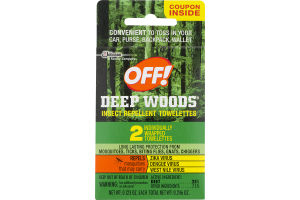 OFF! Deep Woods Insect Repellent Towelettes - 2 CT