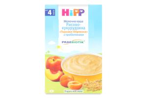 Каша молочна з пребіотиками рисово-кукурудзяна для дітей від 4міс Персики-Абрикоси Hipp к/у 250г