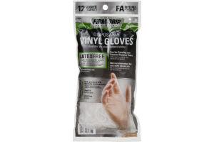 Firm Grip Disposable Vinyl Gloves - 12 CT